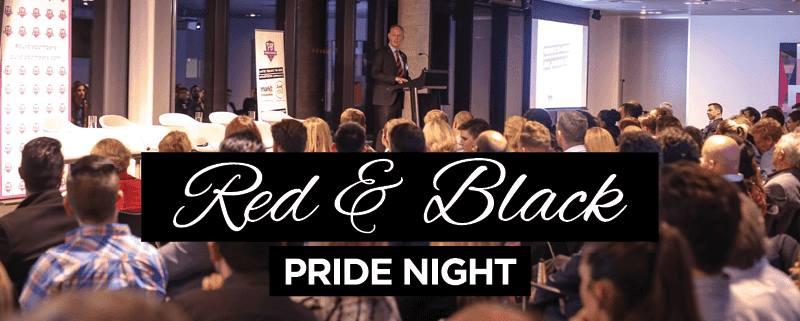 red and blak pride night purple bombers